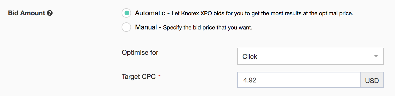 XPO Smart Bidding Setting